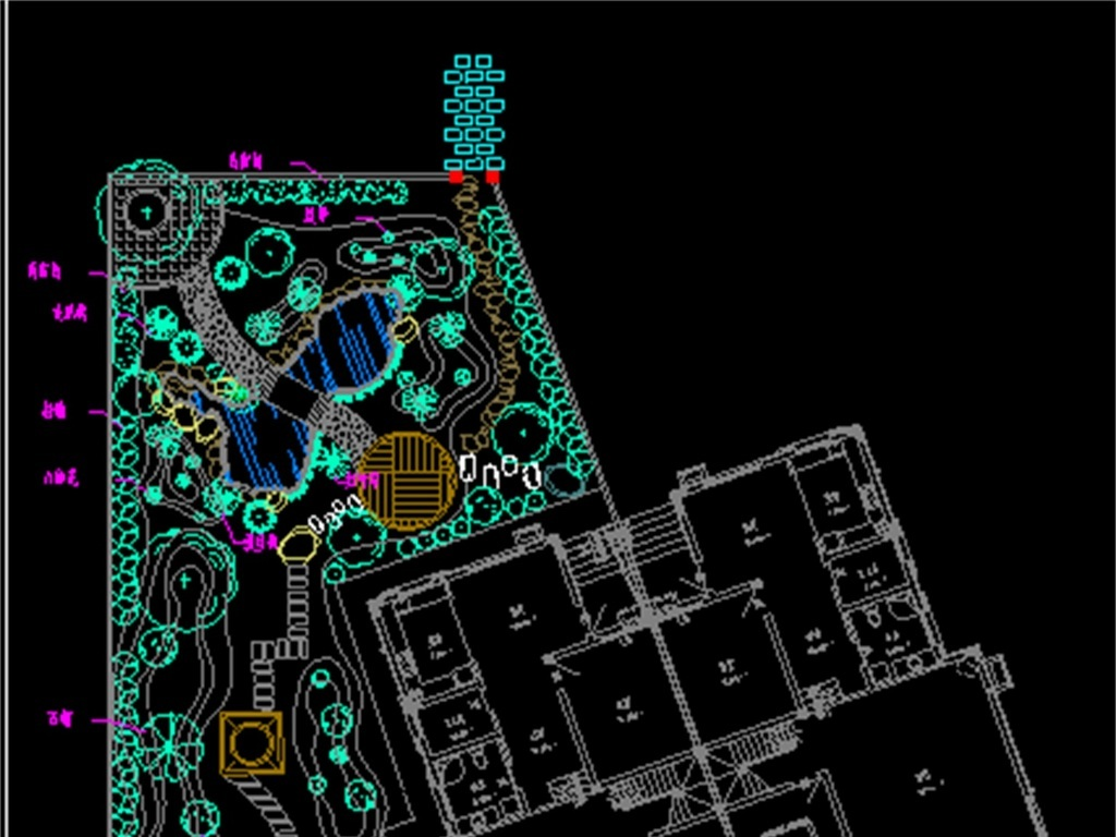 dwg)别墅庭院cad平面图别墅外景观cad设计图别墅绿化景观cad平面图