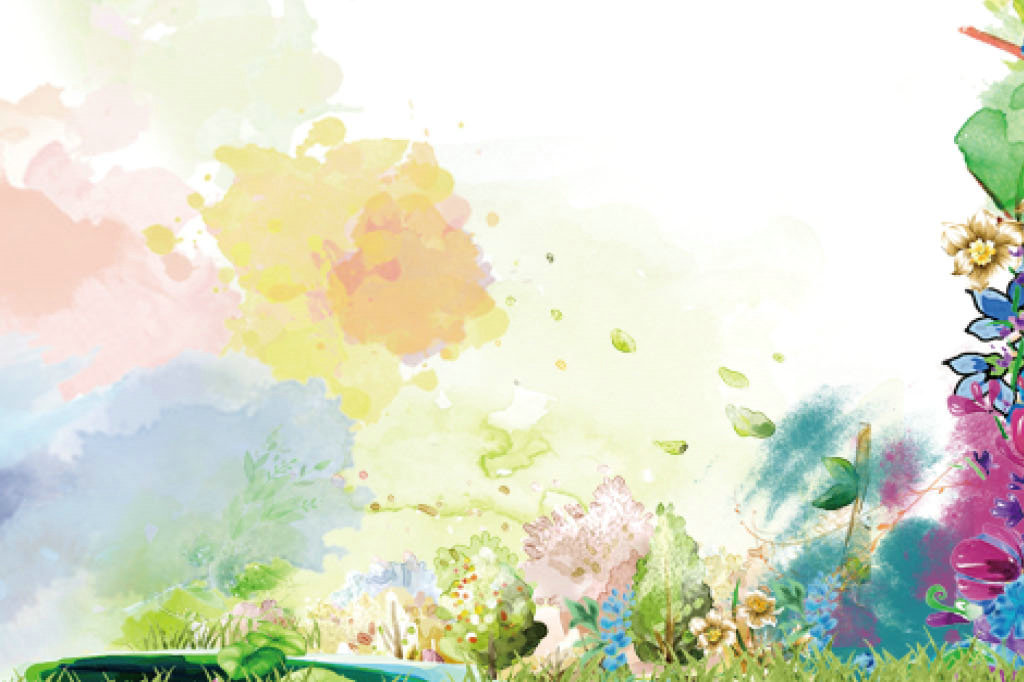 春天渲染信纸背景图片