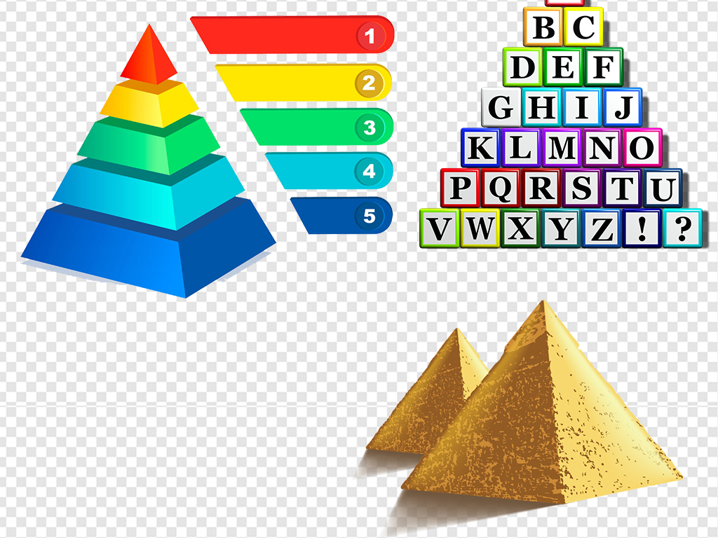 我图网提供精品流行多种金字塔元素png素材下载,作品模板源文件可以编辑替换,设计作品简介: 多种金字塔元素png素材 位图, RGB格式高清大图,使用软件为 Photoshop CS6(.png) 饮食膳食食物金字塔 埃及金字塔ppt背景模版元素 彩色素材矢量图