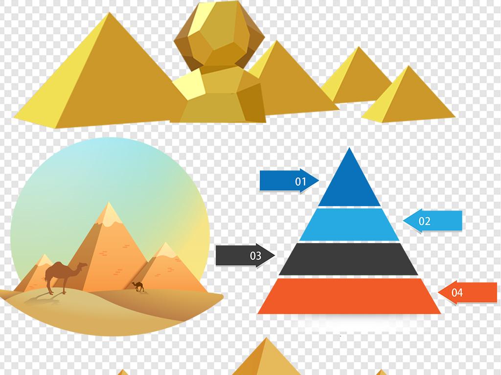 png)饮食膳食食物金字塔埃及金字塔ppt背景模版元素彩色素材矢量图