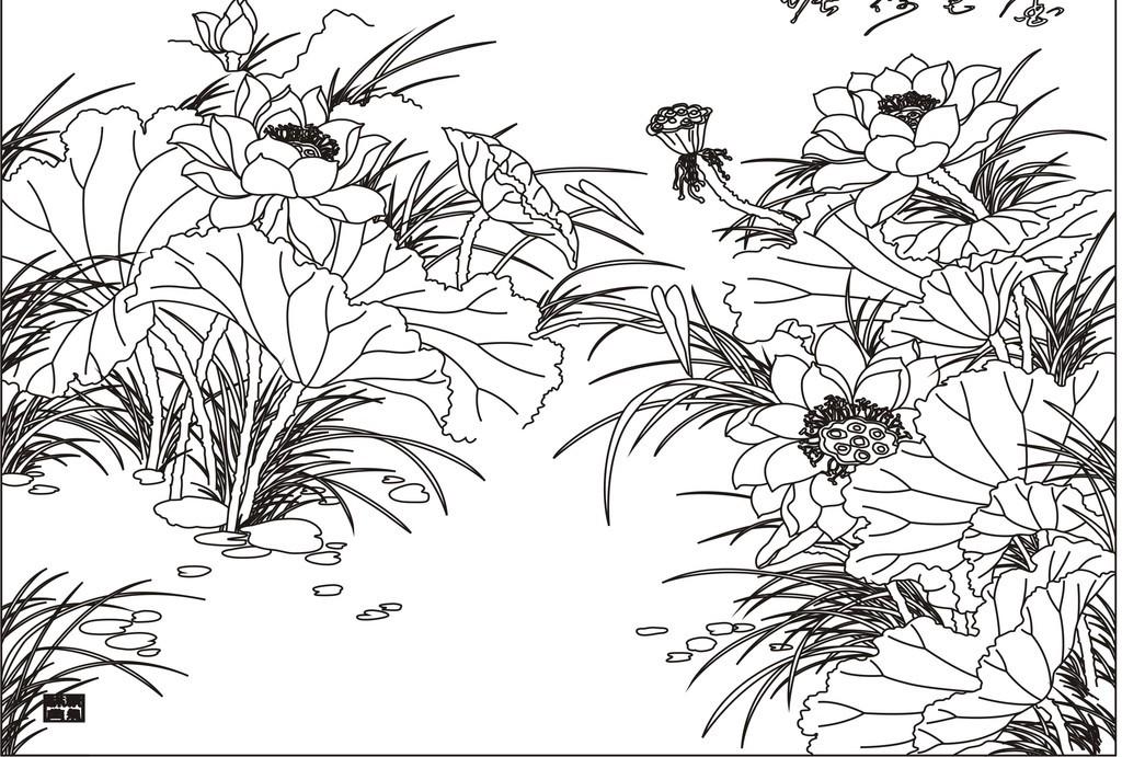 金色荷塘荷花平面设计图下载(图片1.70mb)_雕花cad