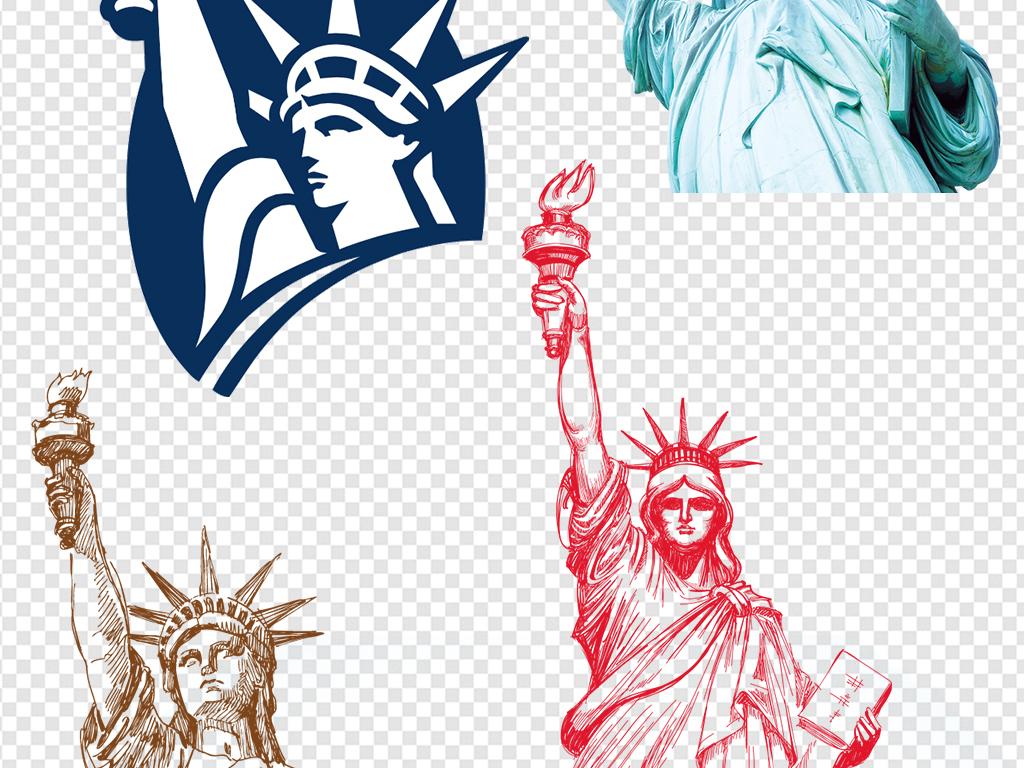 欧美领袖手绘建筑美国自由女神像手绘素材建筑素材