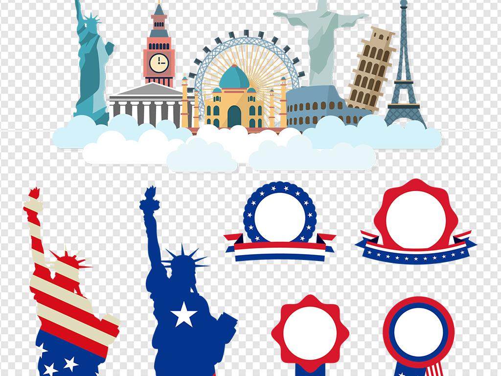免扣元素 生活工作 城市建筑 > 手绘线绘美国建筑自由女神像素材