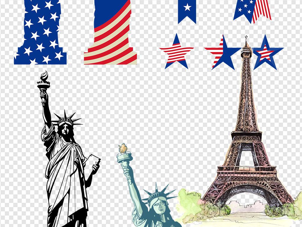 欧美领袖手绘建筑美国自由女神像手绘素材建筑素材美