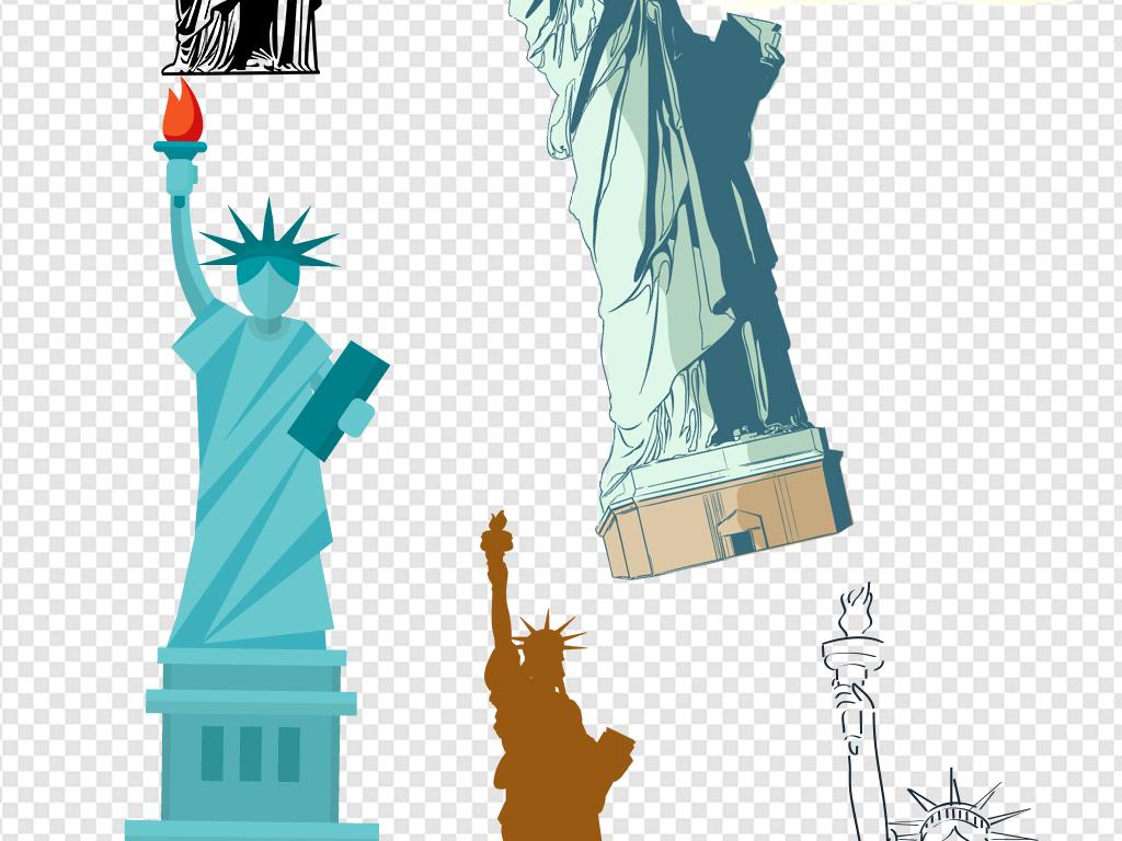 免抠元素 生活工作 城市建筑 > 手绘线绘美国建筑自由女神像素材
