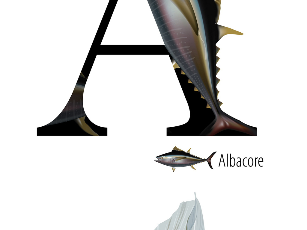 26个海洋生物艺术英文字母矢量设计素材