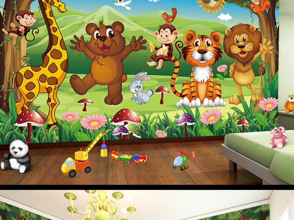 动物乐园卡通儿童房壁画背景墙