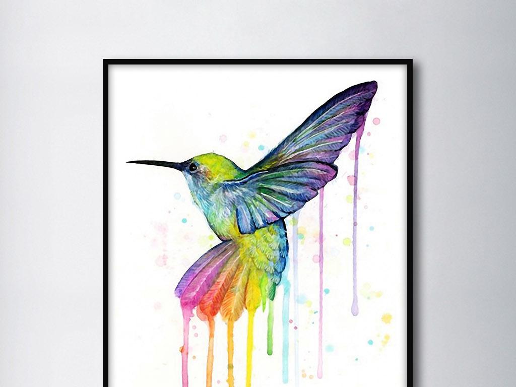 飞鸟彩色手绘水彩欧式动物现代简约装饰画