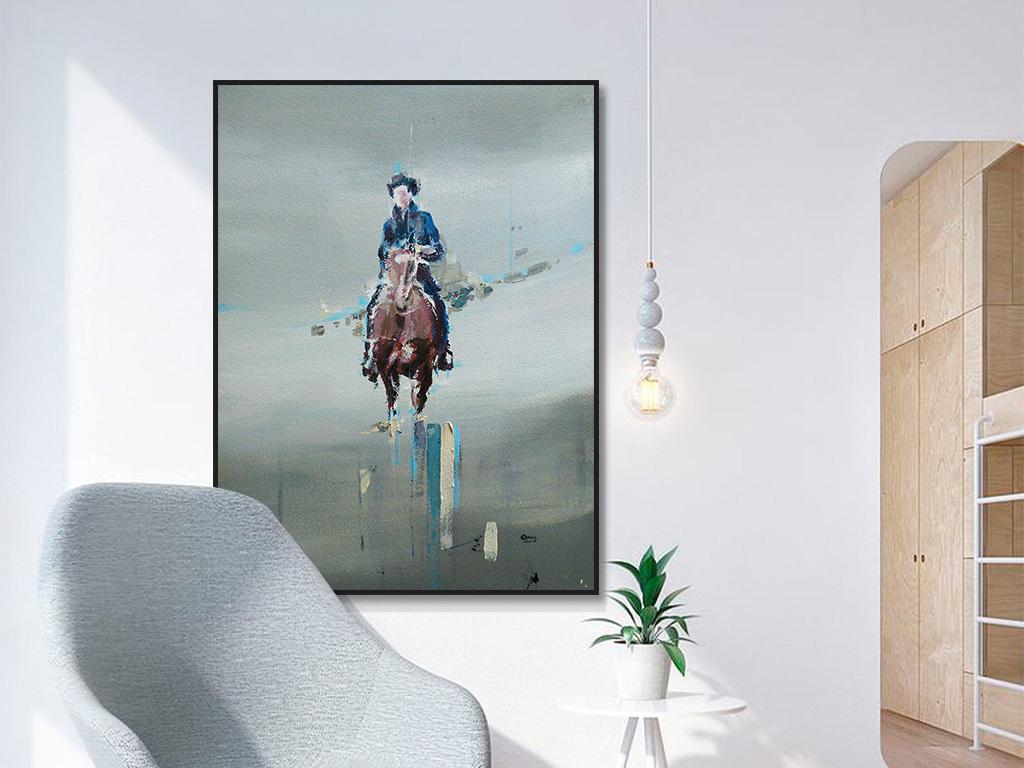 美式人物骑马沙地风景抽象绘画装饰画图片设计素材 高清模板下载 12.42MB 油画装饰画大全
