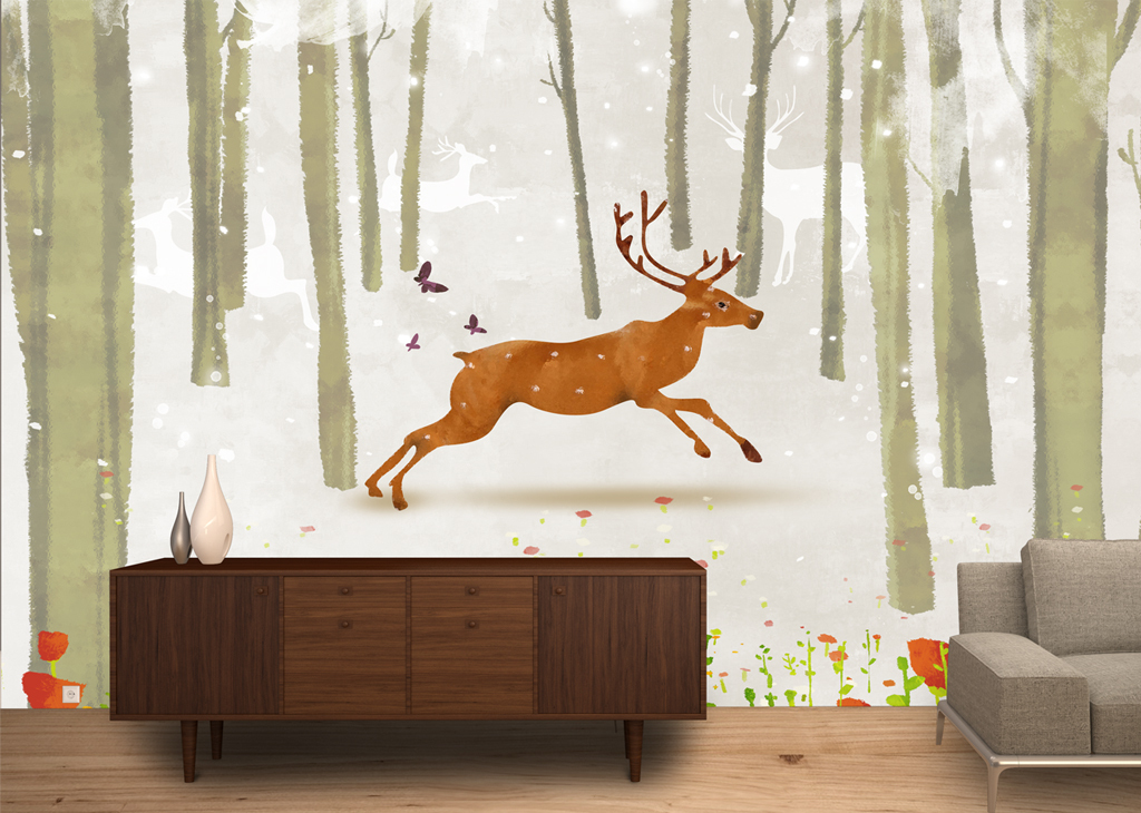 北欧简约唯美麋鹿森林电视沙发背景墙装饰画