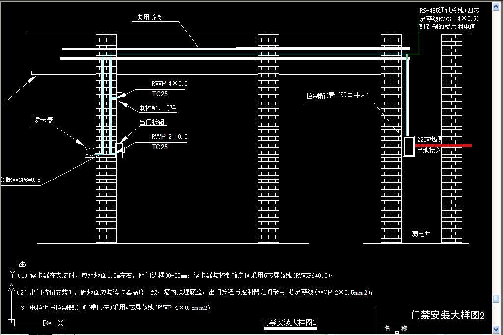dwg)防火卷帘门电路图门禁安装系统图门禁安装大样图电锁安装图门禁设