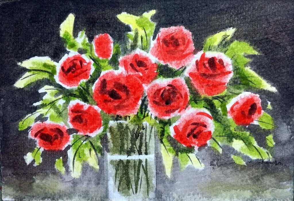 原创画水彩画玫瑰花手绘玫瑰插花