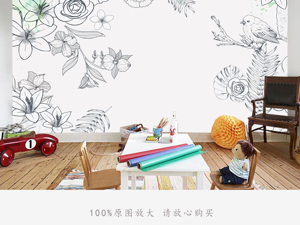 黑白手绘花朵电视背景图(图片编号:16171448)_手绘墙