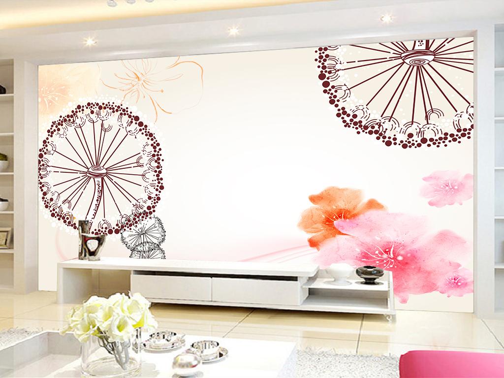 现代简约蒲公英手绘花卉背景墙