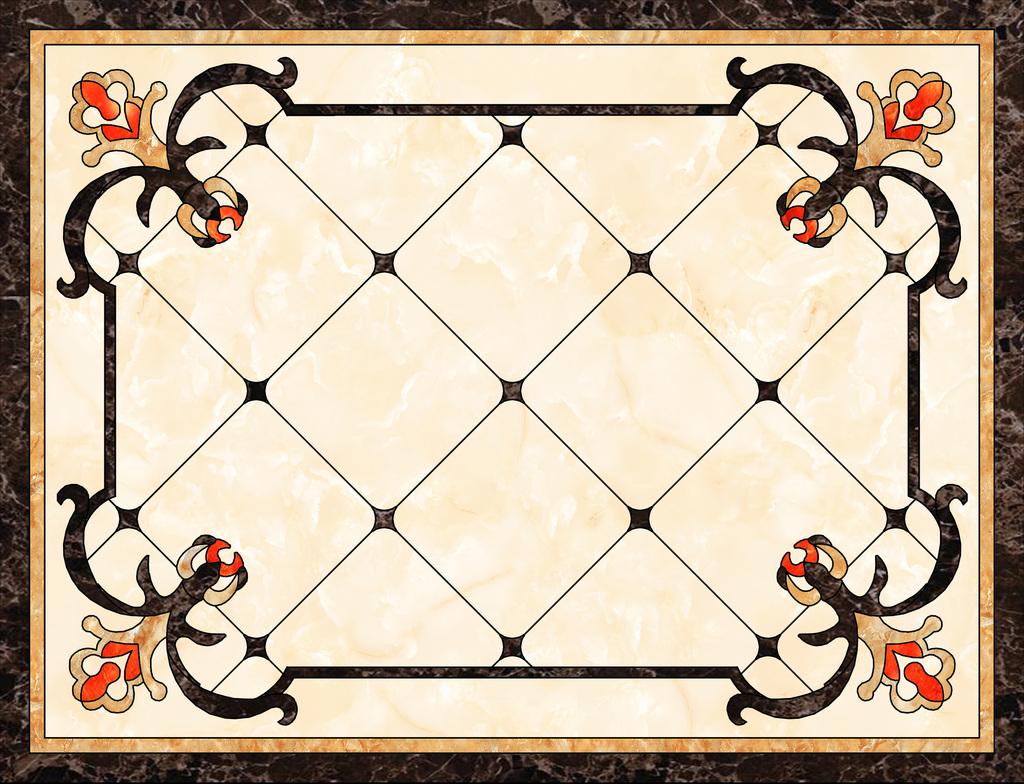 瓷砖欧式客厅沙发背景拼图客厅拼花效果图客厅水刀角花图片