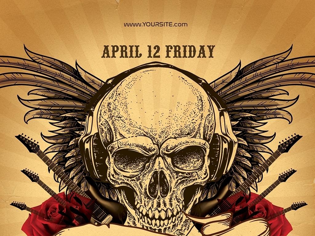 平面|广告设计 海报设计 国外创意海报 > 手绘炫酷黑暗使者摇滚音乐