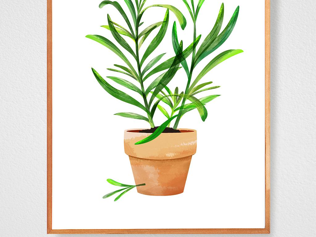 tif不分层)北欧现代简约手绘叶子花卉北欧风格仙人掌花盆绿叶原创独家