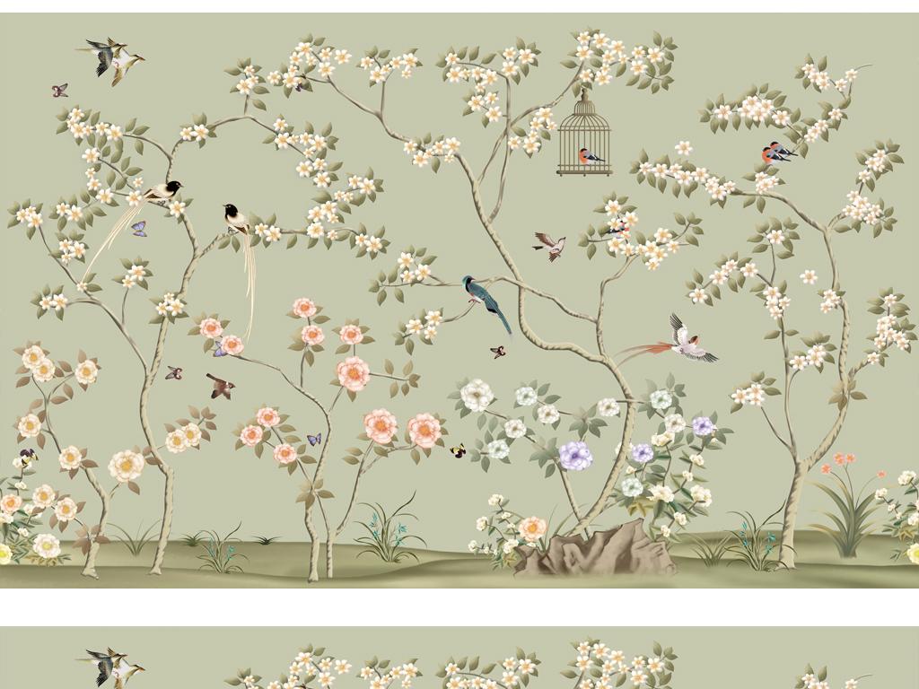 中式风格画花鸟画墙纸壁画02