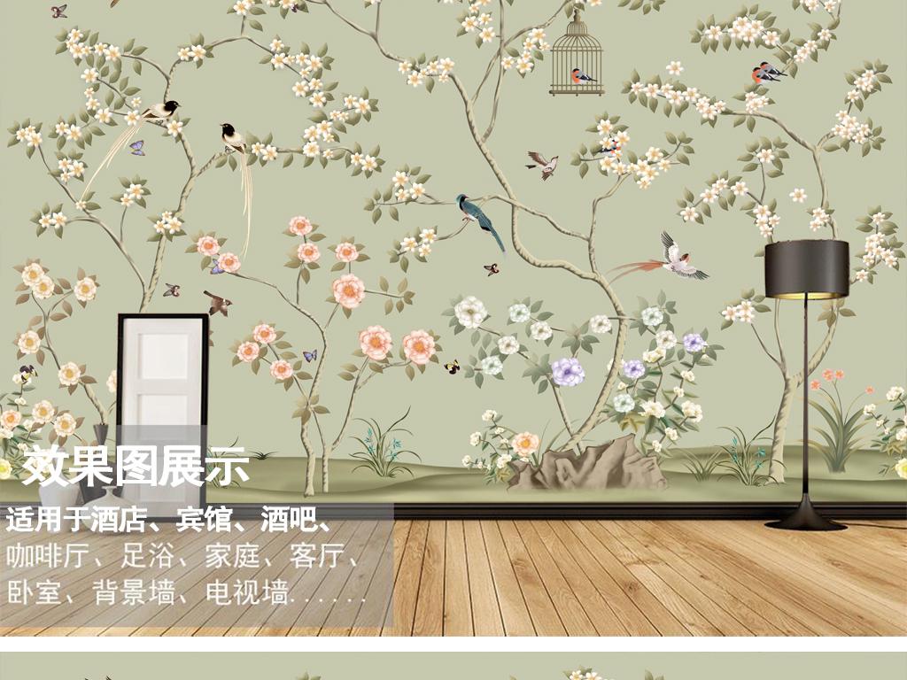 中式风格画花鸟画墙纸壁画02(图片编号:16174239)__我图片