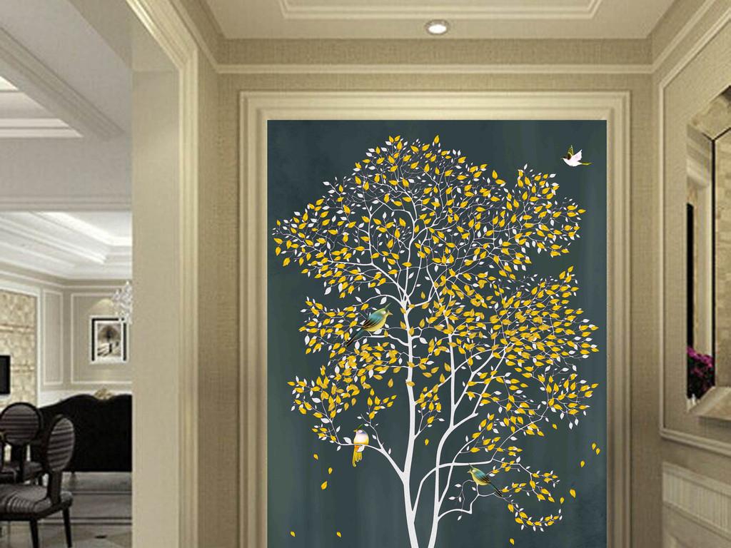 背景墙 玄关 彩雕玄关 > 原创手绘发财树背景墙