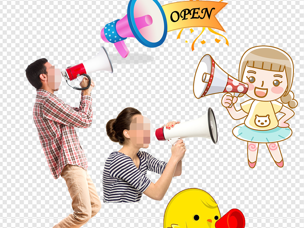 png)可爱手绘卡通小喇叭素材大喇叭图片矢量图3d小人喇叭喊话喊话的男