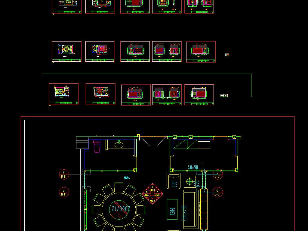 2套中餐厅CAD平面布置图