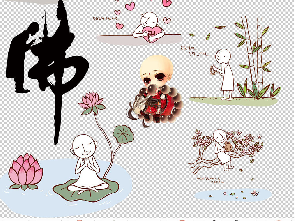 手绘线描卡通小和尚设计元素