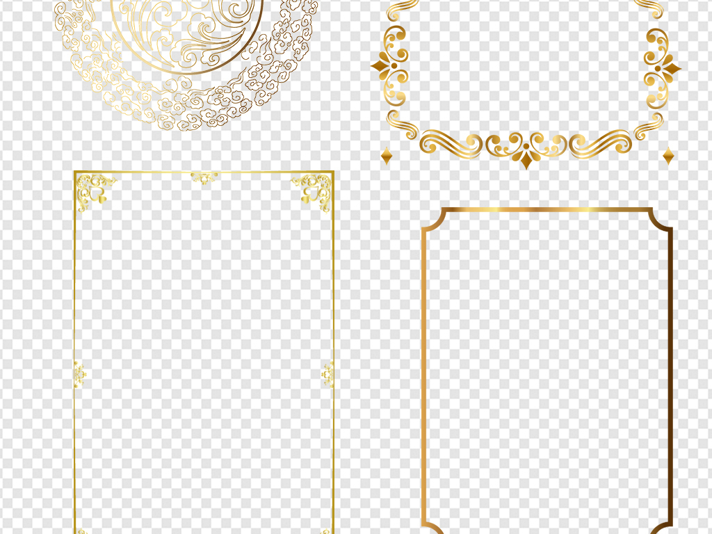 png)欧式花纹华丽金色花纹边框素材荣誉证书边框欧式