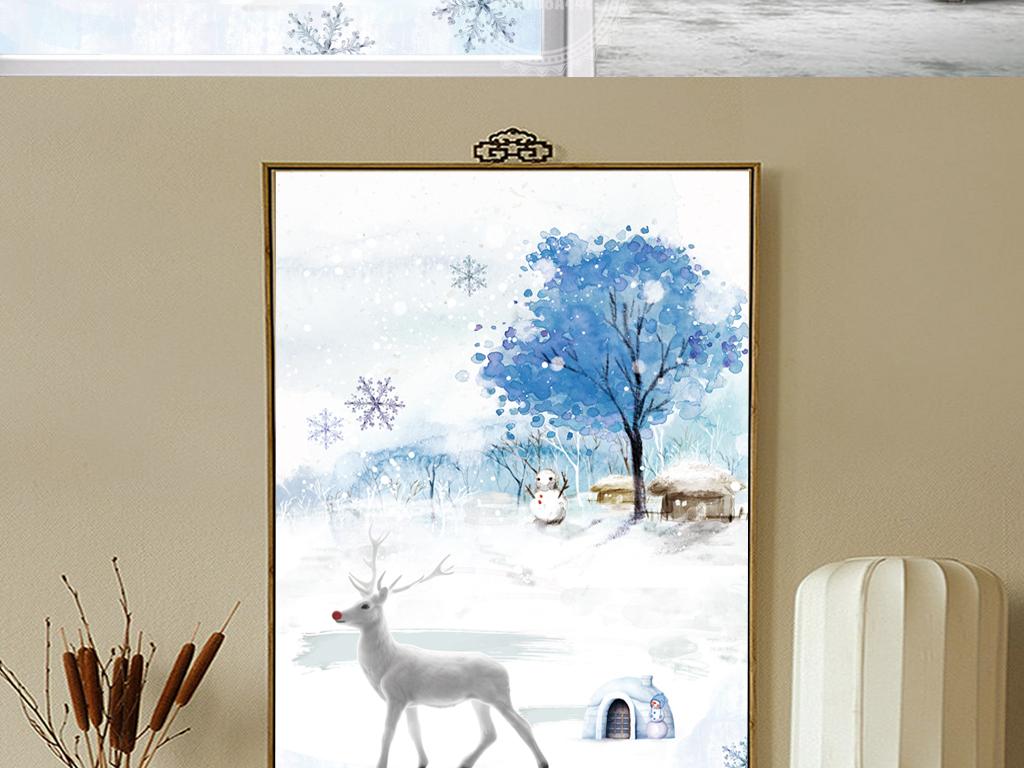 唯美水彩雪景麋鹿装饰画