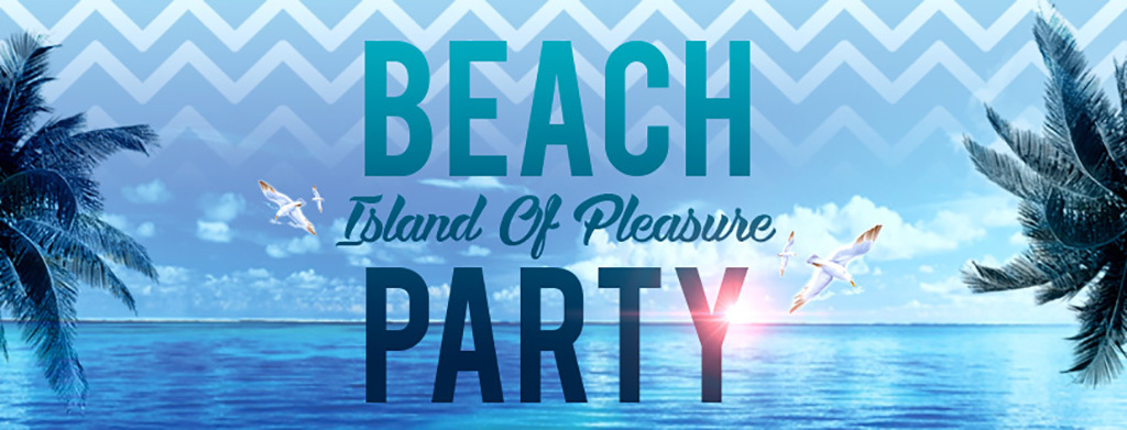 清新唯美海岛旅游蔚蓝海洋沙滩派对宣传海报