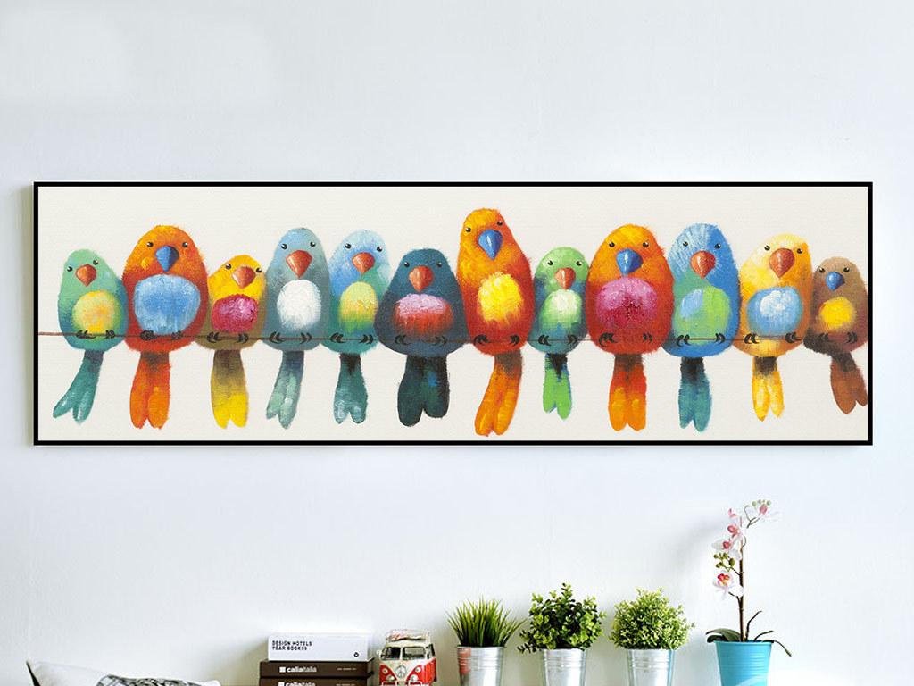 北欧风手绘小鸟装饰画