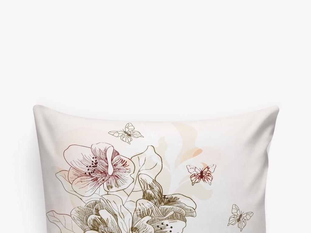 卡通手绘花朵蝴蝶抱枕图案