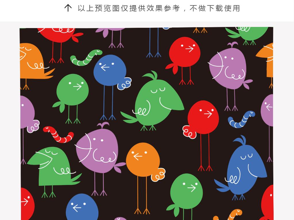 卡通手绘线稿小鸟抱枕印花图案
