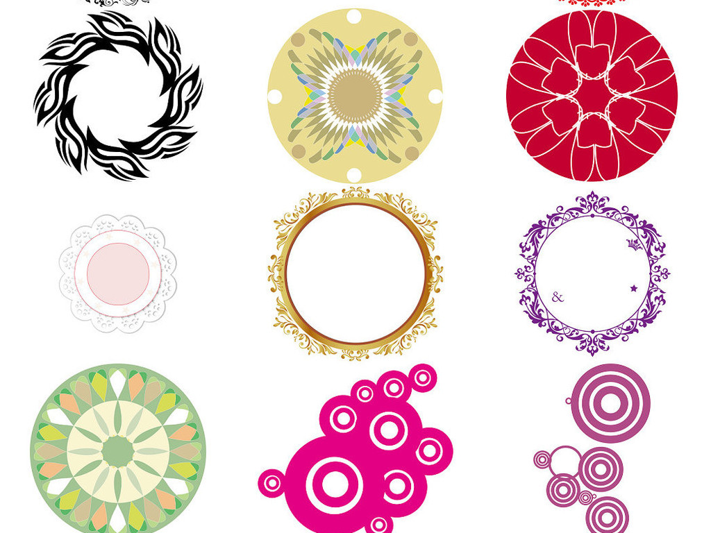 圆圈花纹边框ps免抠透明素材图片下载png素材 效果素材