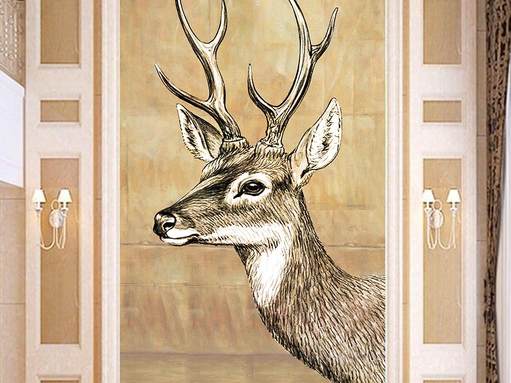 复古手绘鹿头油画玄关