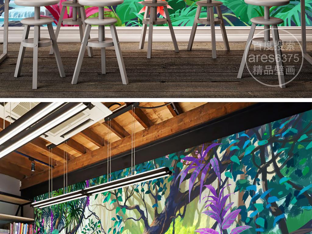 巨幅复古手绘森林热带雨林壁画背景墙
