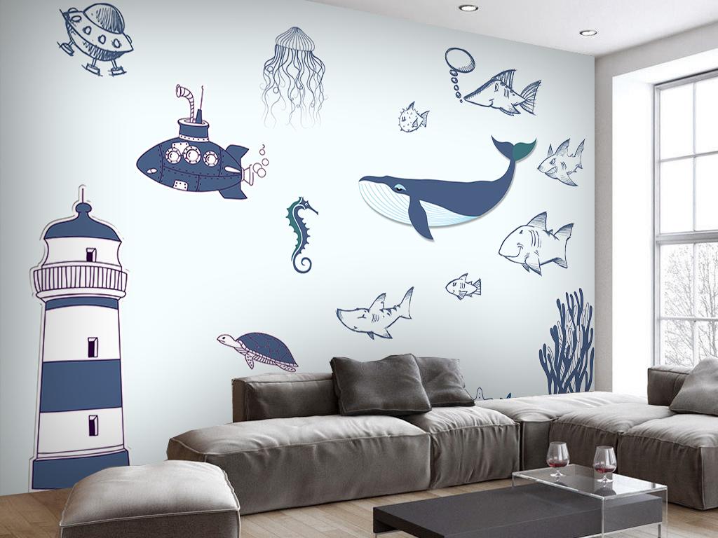 海豚航海卡通背景墙