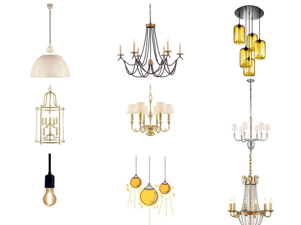 家庭客厅吊灯免抠图海报设计素材4