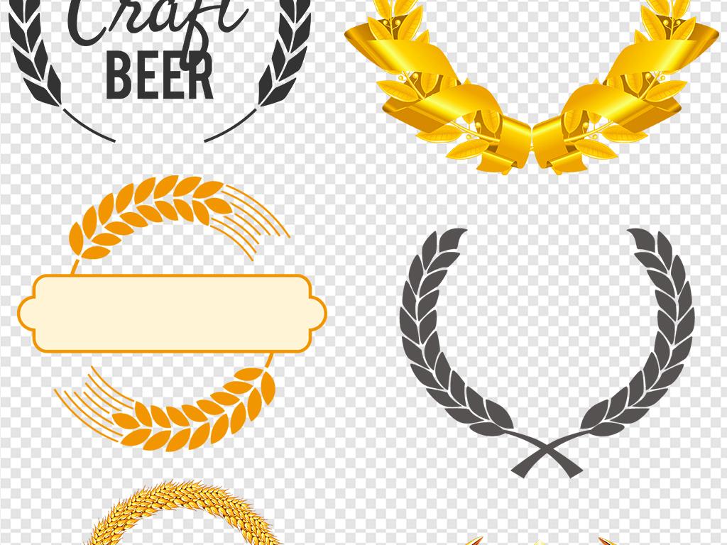 麦穗徽章边框金色麦穗花纹图案麦穗花边