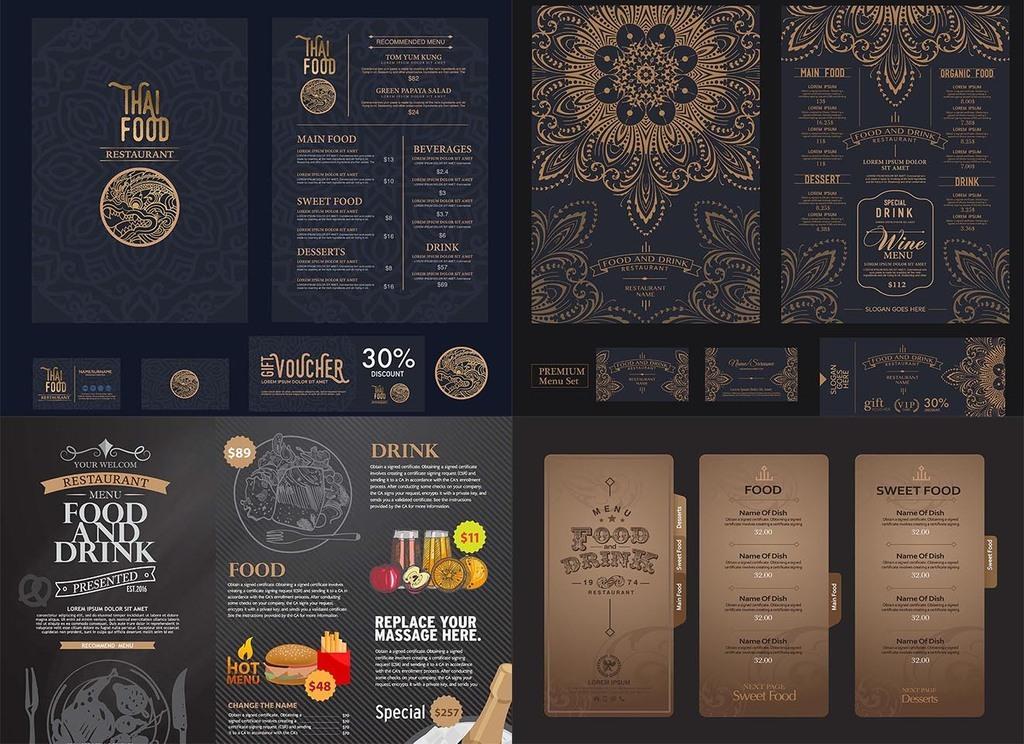 25款酒店菜单花纹背景图案矢量素材