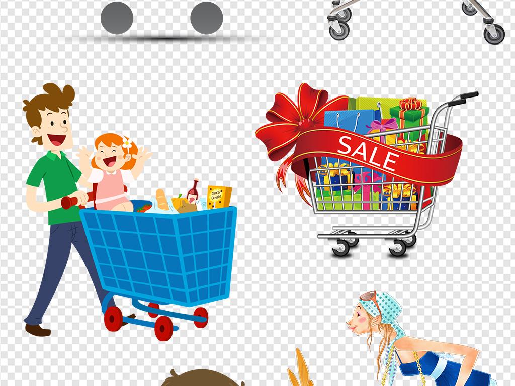 png)手绘卡通购物车超市购物车矢量图购物车图标