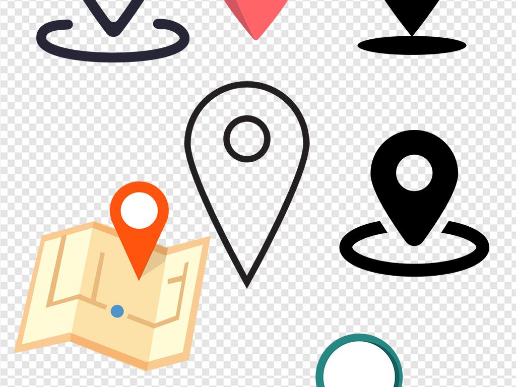 导航扁平插画地理位置地图引脚坐标元素矢量图定位标识