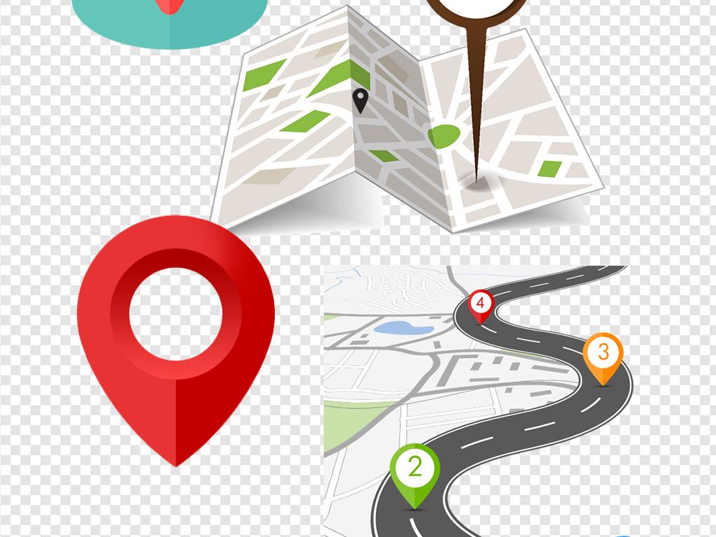 导航扁平插画地理位置地图引脚手绘坐标元素矢量图定位标识