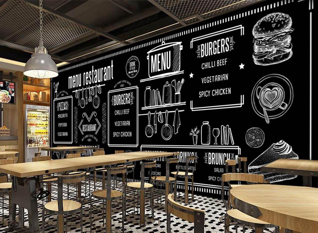 背景墙 工装背景墙 酒店|餐饮业装饰背景墙 > 欧美手绘黑板美食酒吧图片