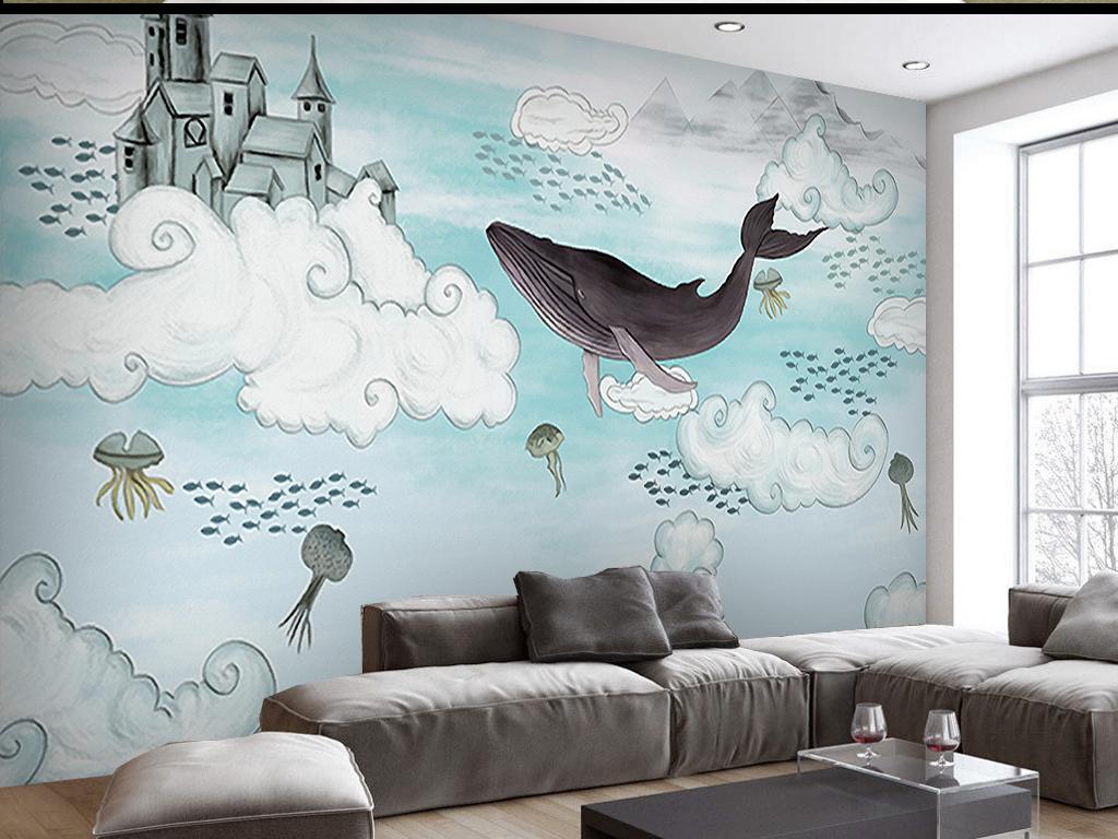 云中海豚手绘背景墙