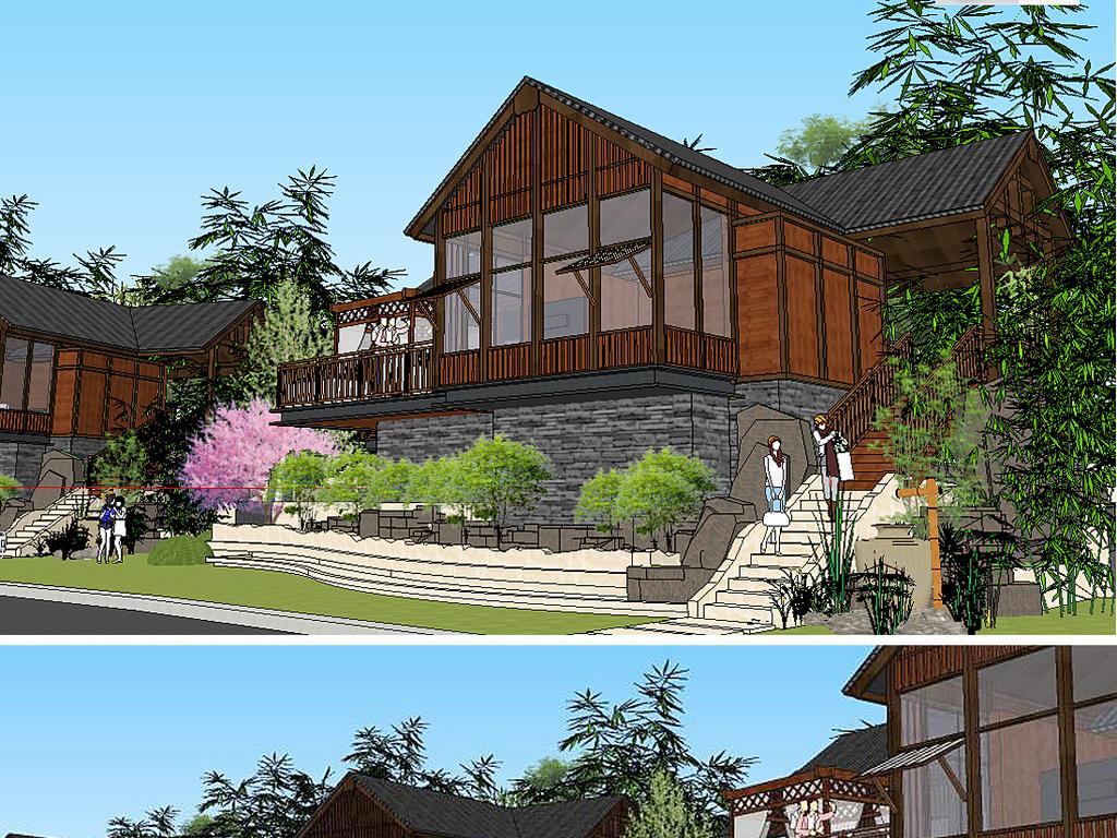 木屋景观手绘设计