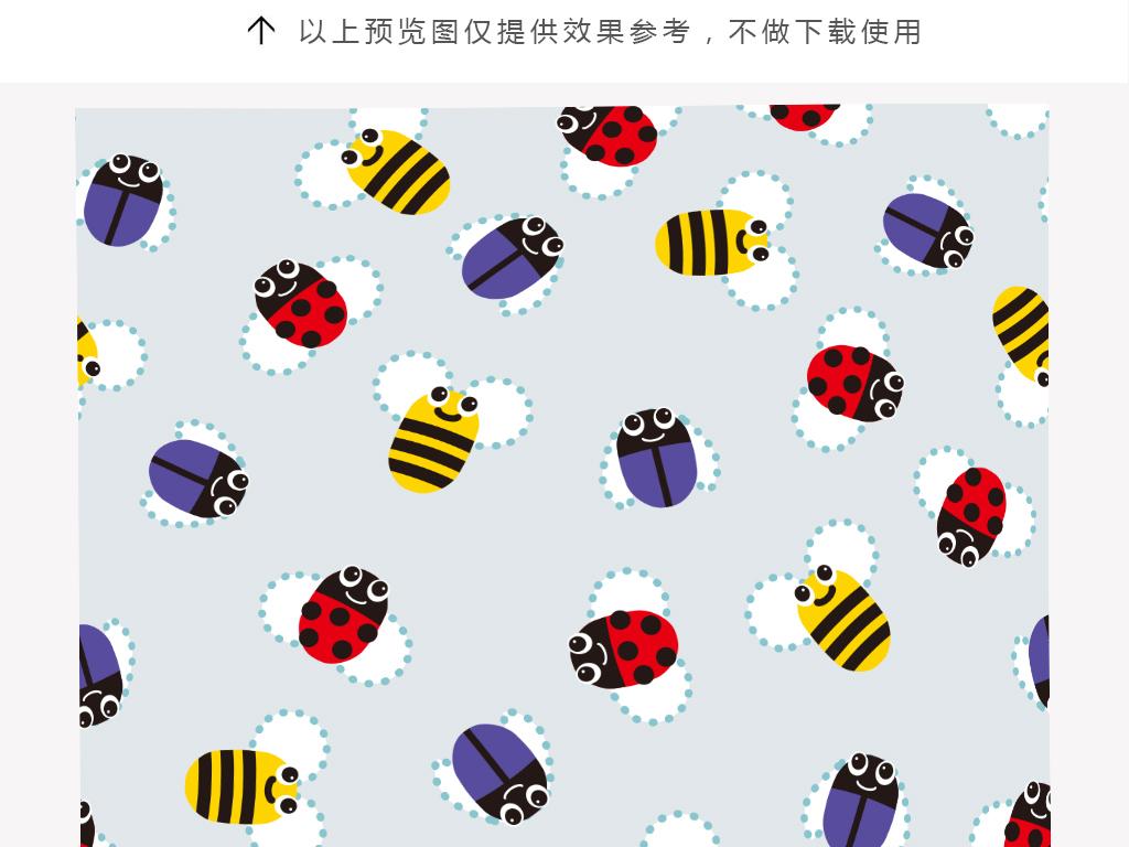 卡通小瓢虫动物抱枕印花图案