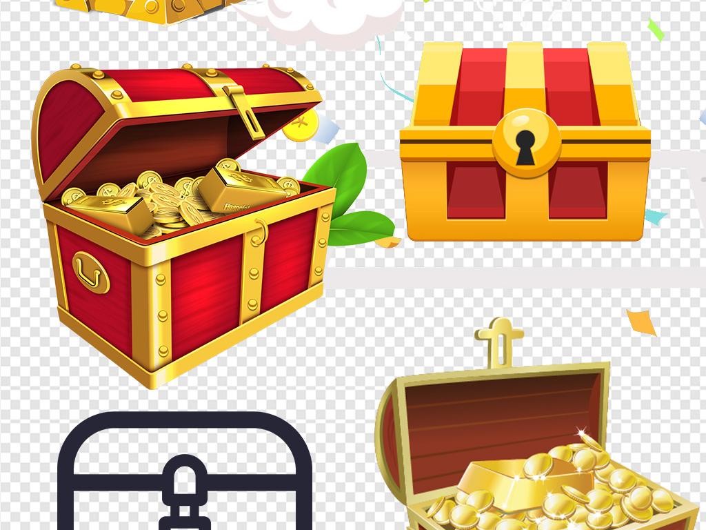 财富金色红色宝箱图案图标标志图片