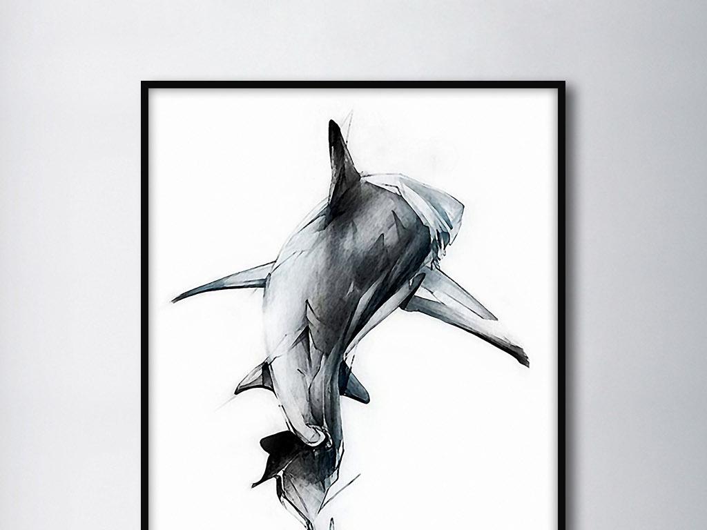鲨鱼大白鲨尾鳍雄姿北欧简约手绘装饰无框画