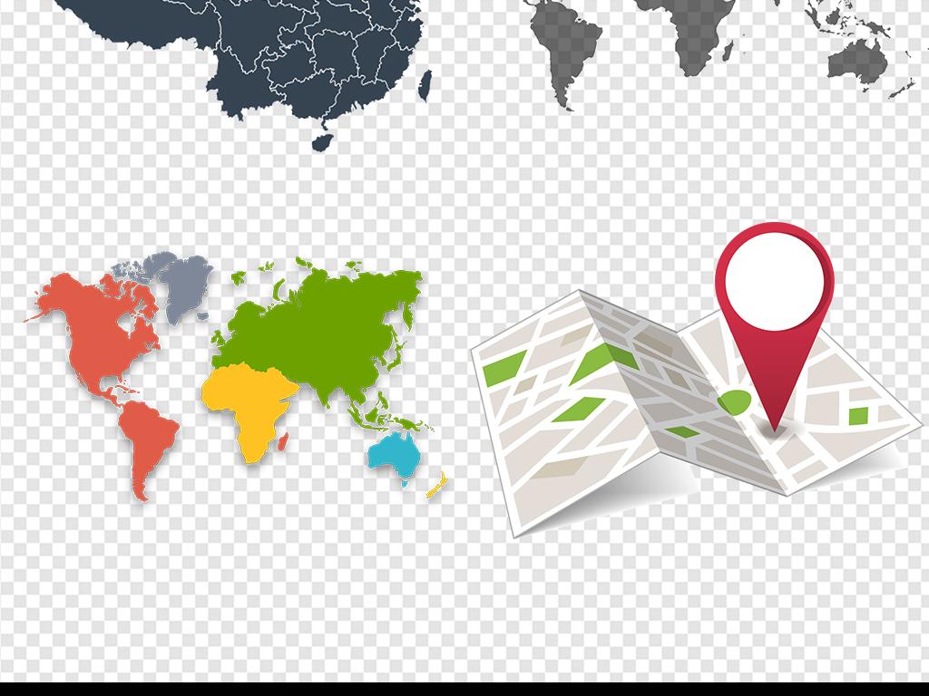 世界地图剪影ppt素材手绘卡通百度地图图标科技感蓝色地图装饰元素